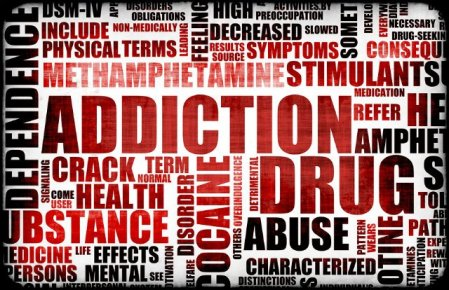 Red Drug Addiction Dangers Grunge Warning Concept